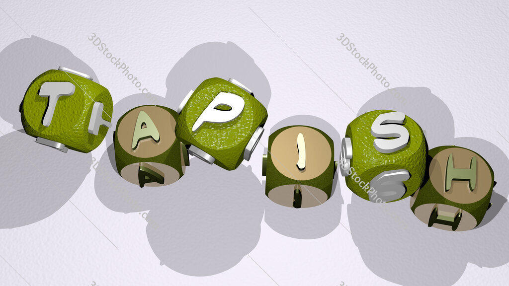 tapish text by dancing dice letters