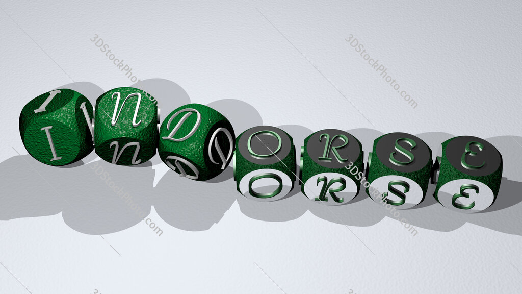 indorse text by dancing dice letters