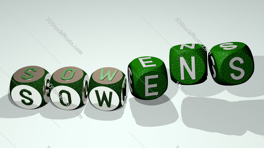 sowens text by dancing dice letters