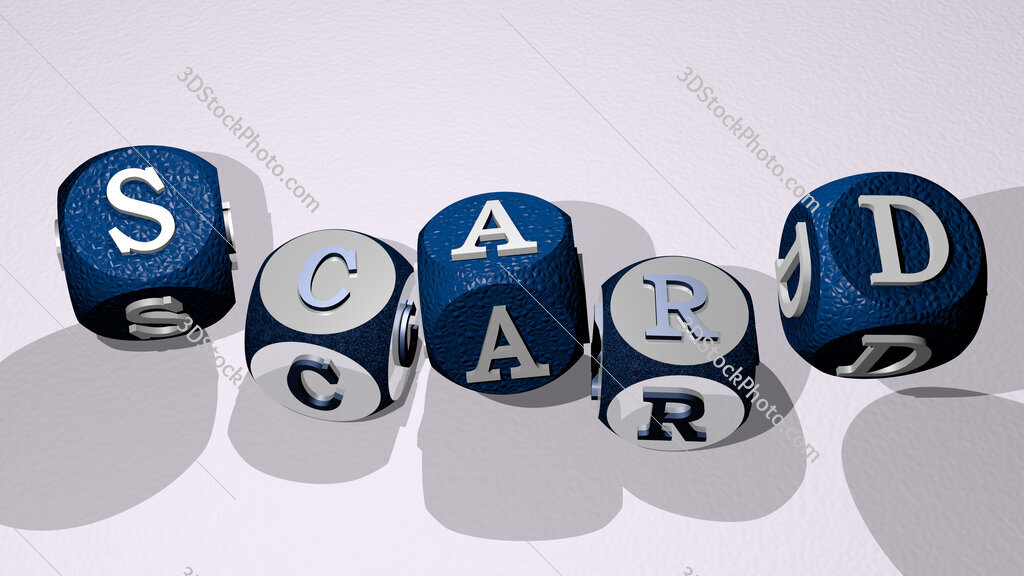 scard text by dancing dice letters