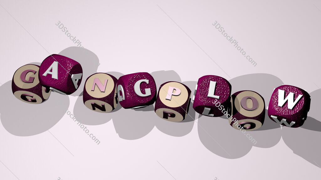 gangplow text by dancing dice letters