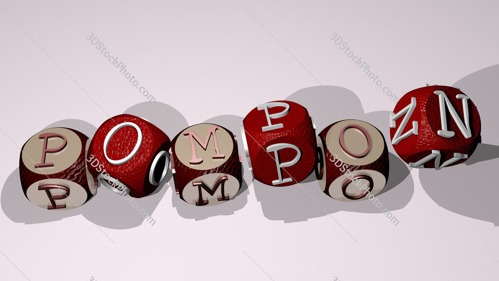 pompon text by dancing dice letters