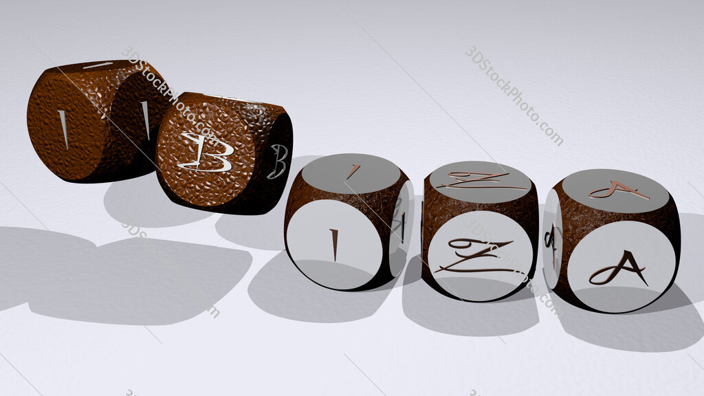 Ibiza text by dancing dice letters