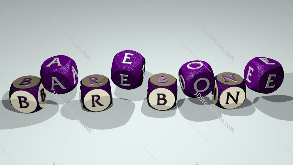 barebone text by dancing dice letters