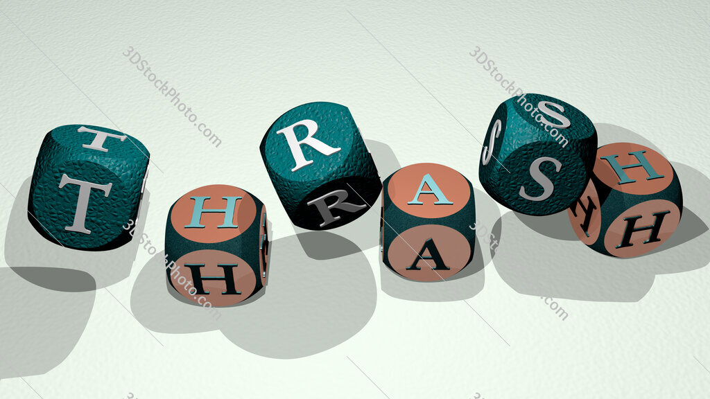 thrash text by dancing dice letters