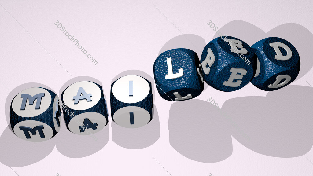 mailed text by dancing dice letters