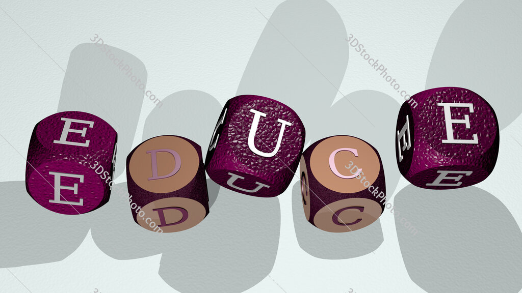 educe text by dancing dice letters