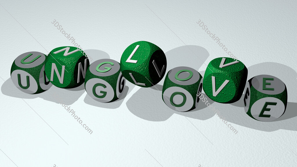 unglove text by dancing dice letters