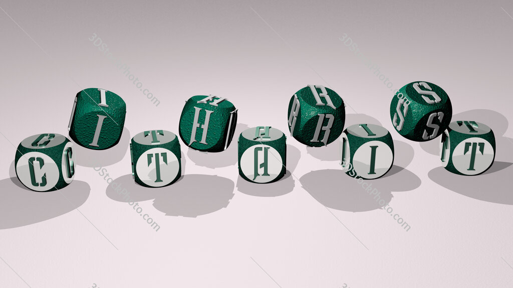 citharist text by dancing dice letters