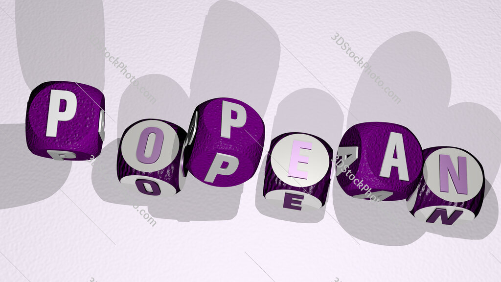 Popean text by dancing dice letters