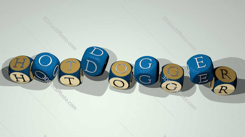 hotdogger text by dancing dice letters