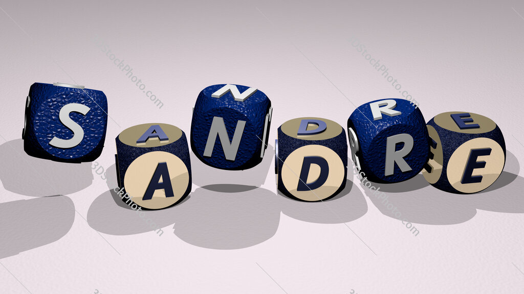 sandre text by dancing dice letters