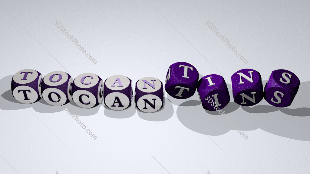 Tocantins text by dancing dice letters