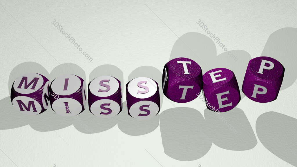 misstep text by dancing dice letters