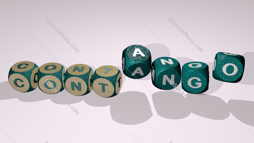contango text by dancing dice letters