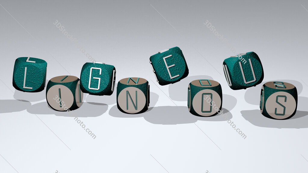 Ligneous text by dancing dice letters