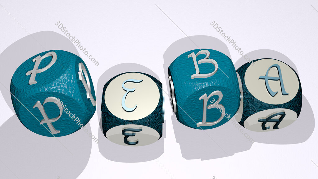 peba text by dancing dice letters