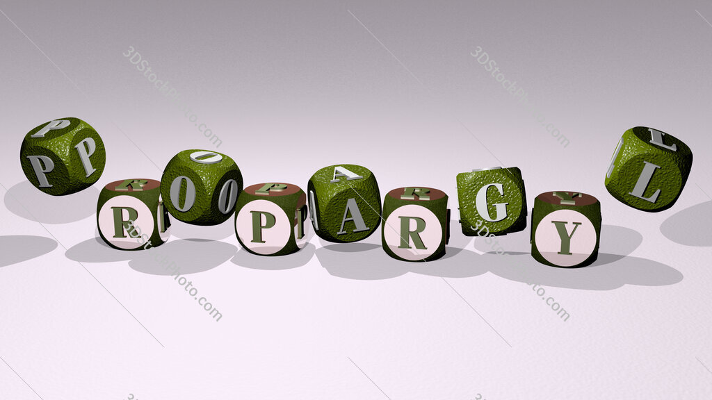 propargyl text by dancing dice letters