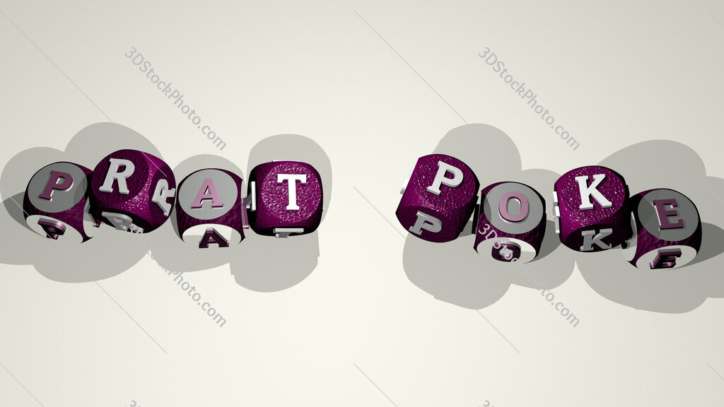 prat poke text by dancing dice letters