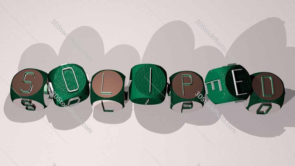 soliped text by dancing dice letters