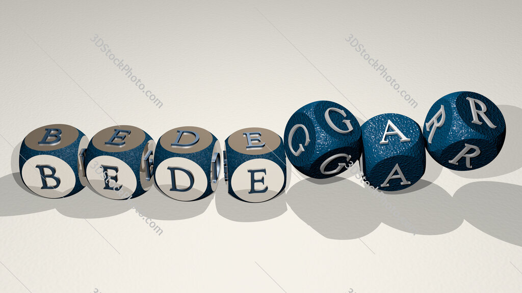 bedegar text by dancing dice letters