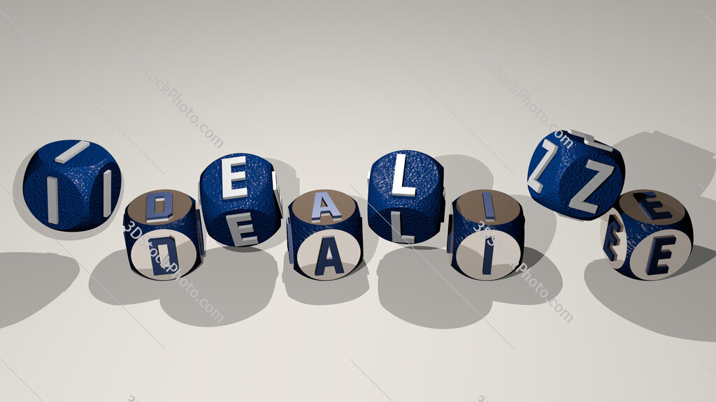 idealize text by dancing dice letters