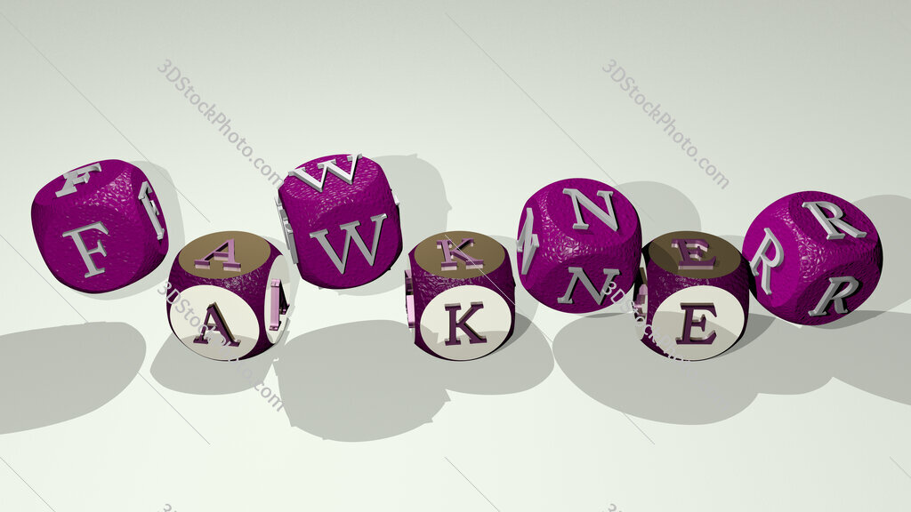 Fawkner text by dancing dice letters
