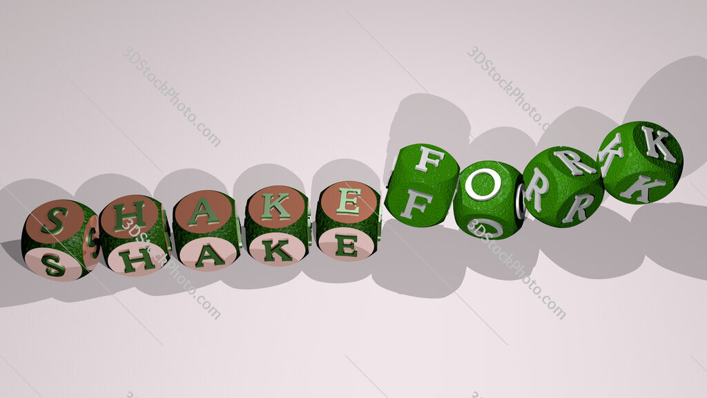 shakefork text by dancing dice letters