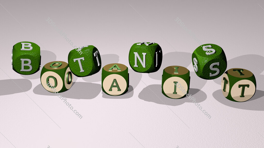 botanist text by dancing dice letters