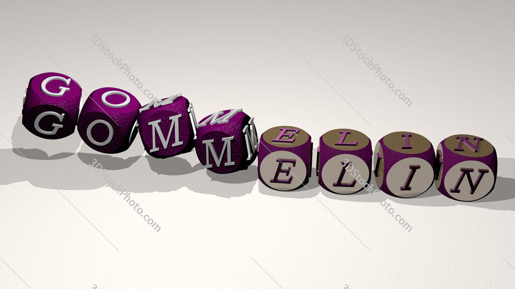 gommelin text by dancing dice letters