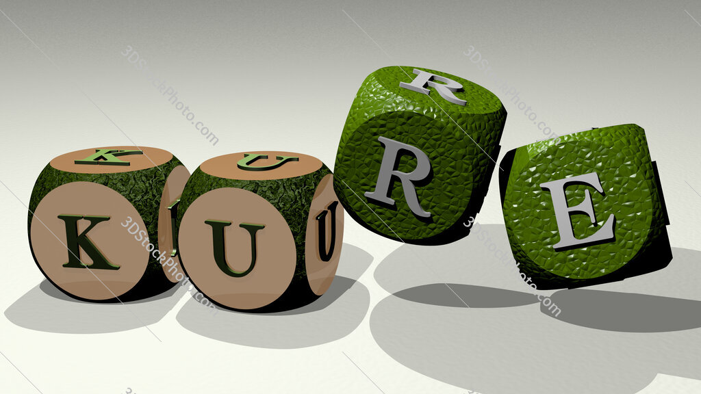 Kure text by dancing dice letters
