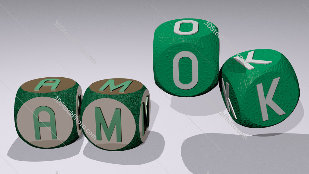 Amok text by dancing dice letters