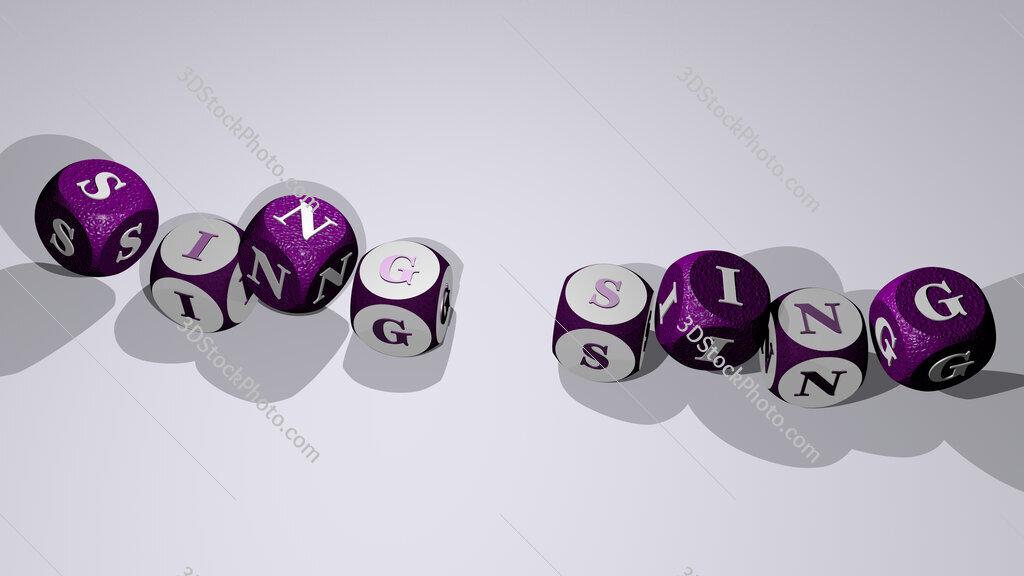 Sing Sing text by dancing dice letters