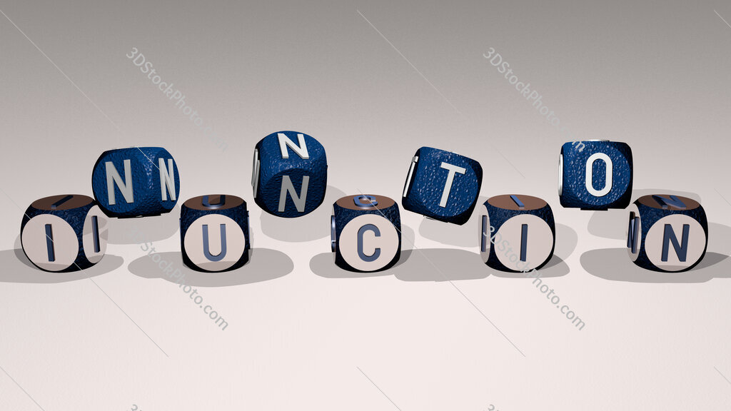 inunction text by dancing dice letters
