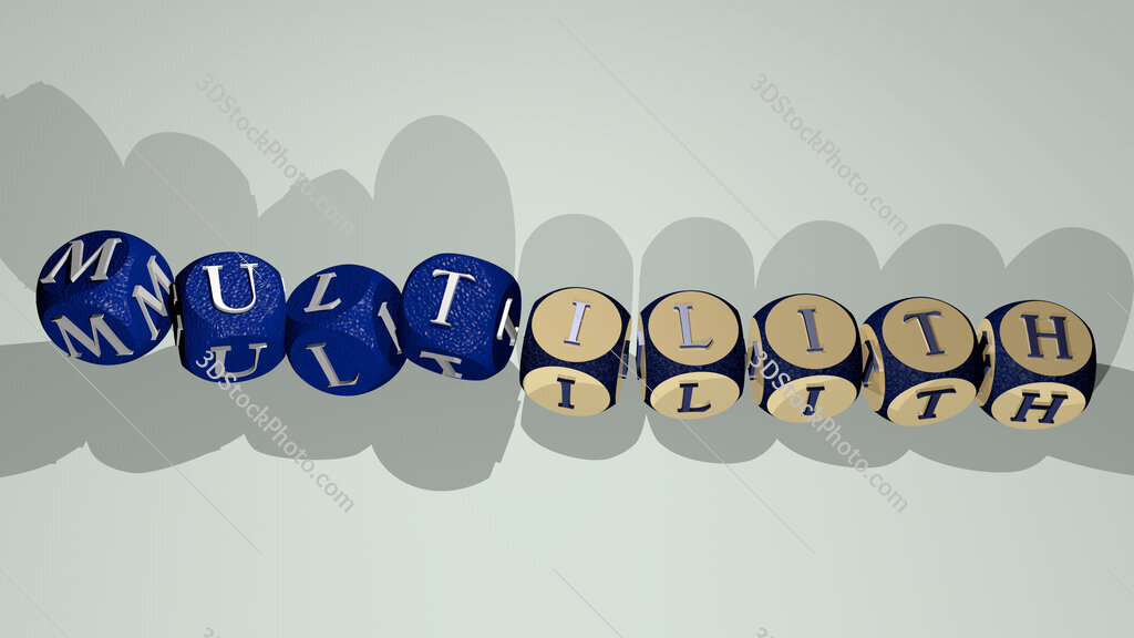Multilith text by dancing dice letters