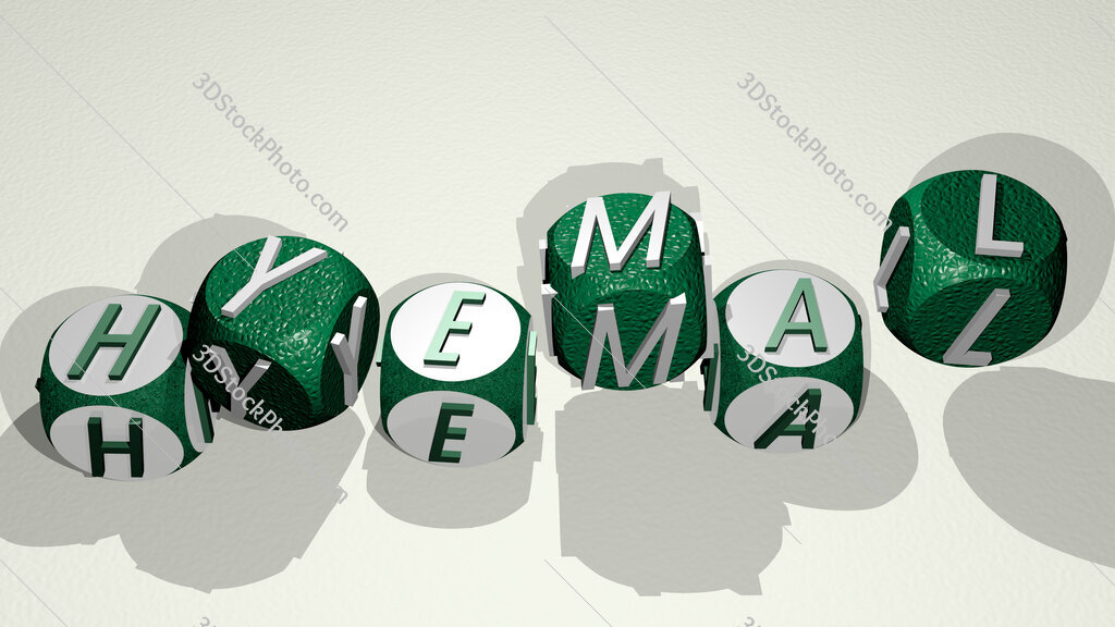 hyemal text by dancing dice letters