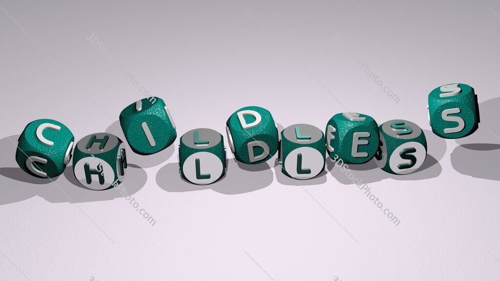 childless text by dancing dice letters