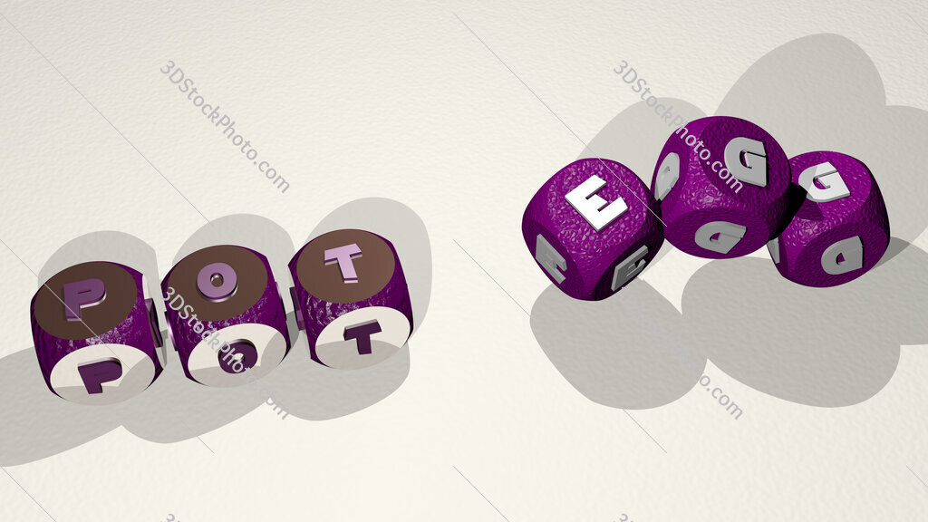 pot egg text by dancing dice letters
