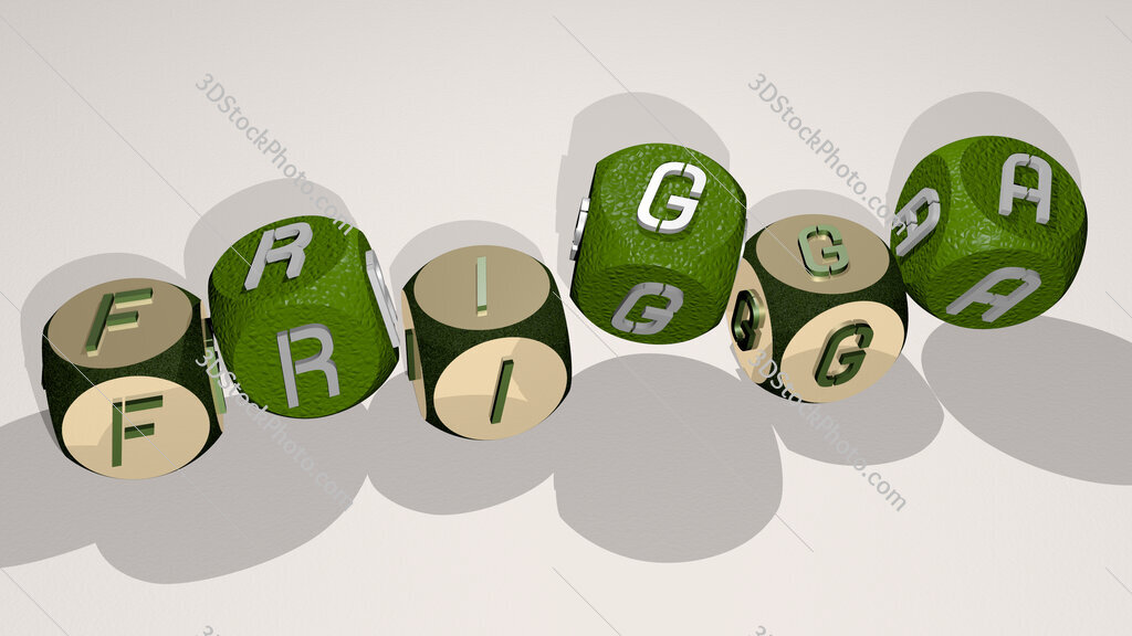 frigga text by dancing dice letters