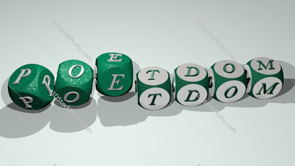poetdom text by dancing dice letters
