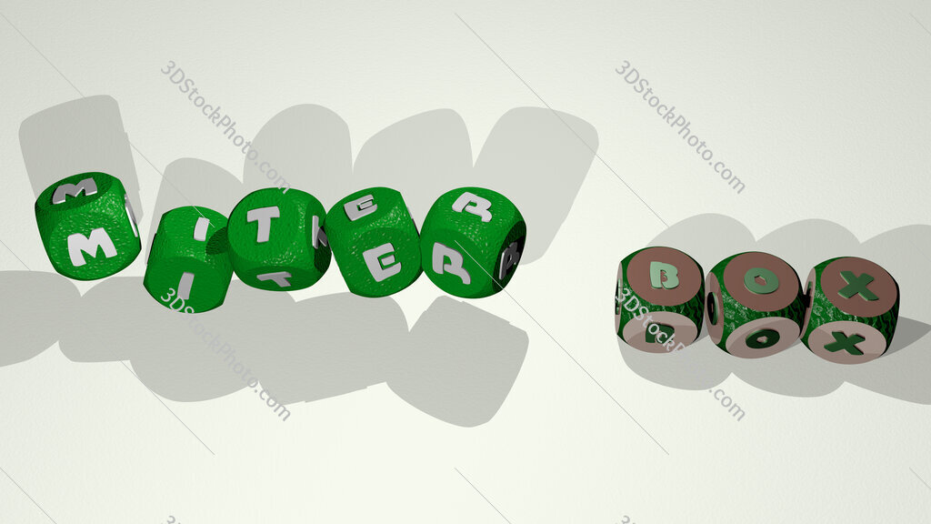 miter box text by dancing dice letters