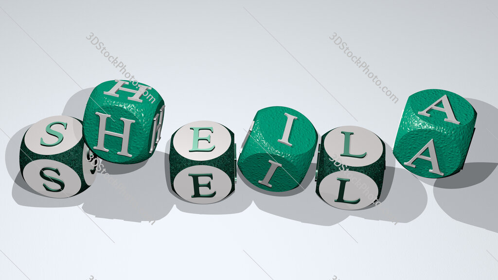 sheila text by dancing dice letters