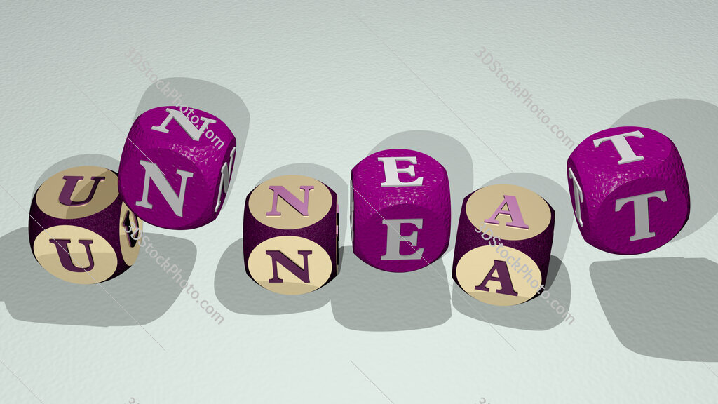 unneat text by dancing dice letters