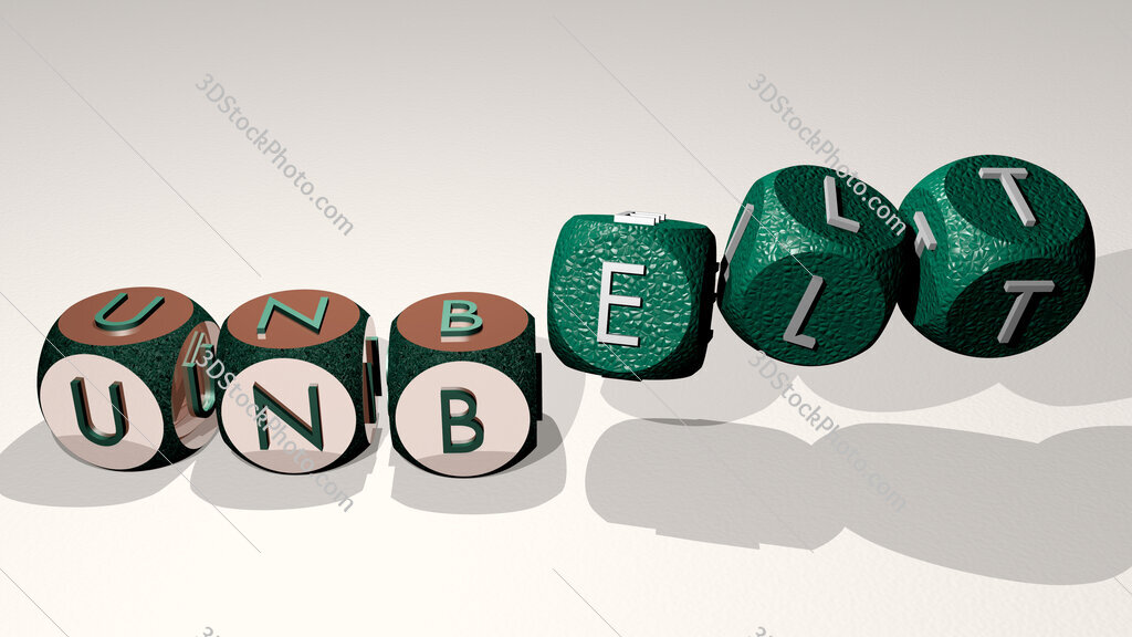 unbelt text by dancing dice letters