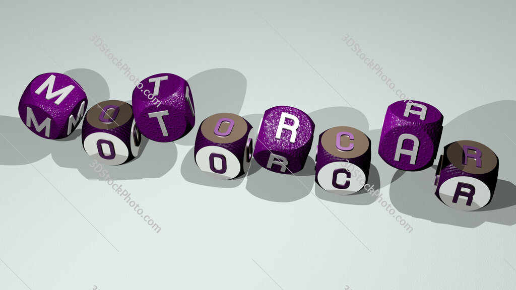 motorcar text by dancing dice letters