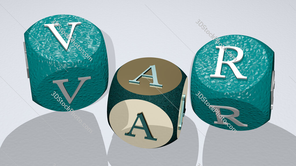 VAR text by dancing dice letters