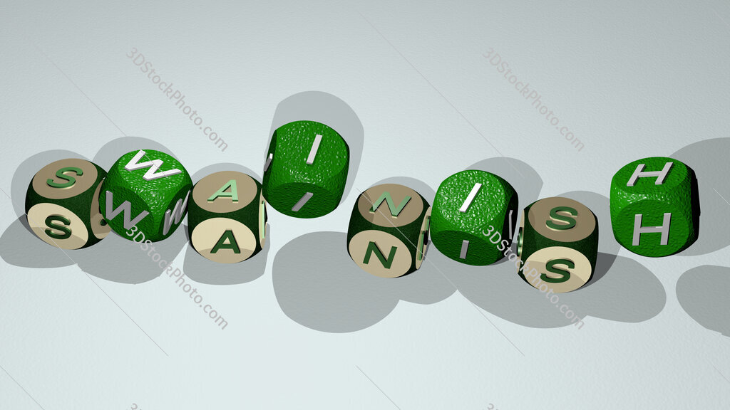swainish text by dancing dice letters