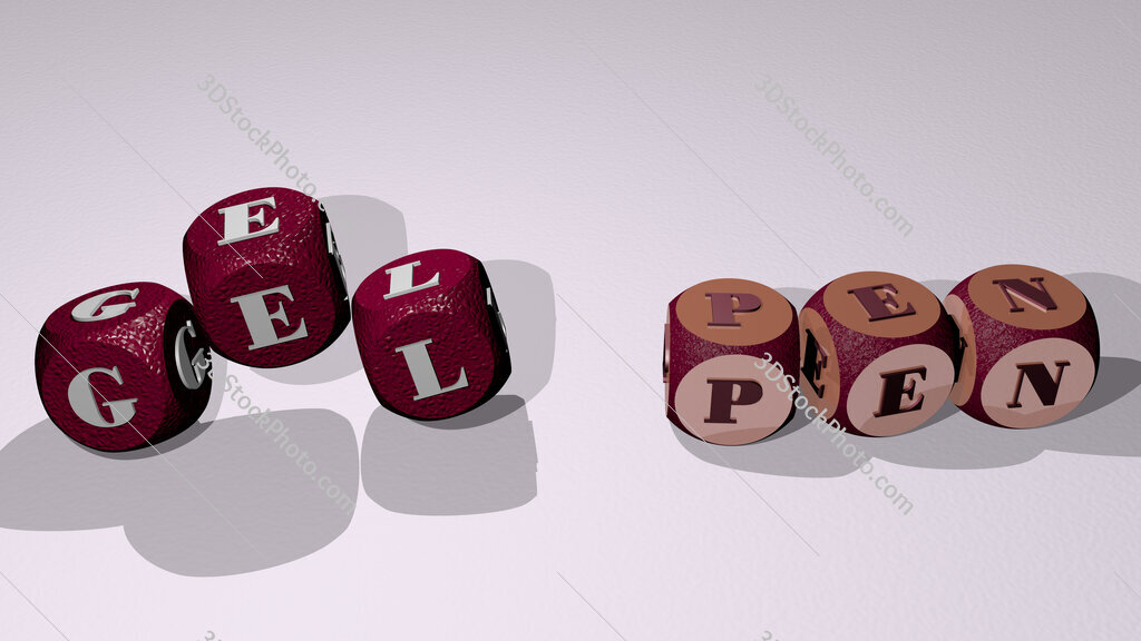 gel pen text by dancing dice letters