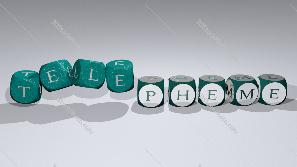 telepheme text by dancing dice letters