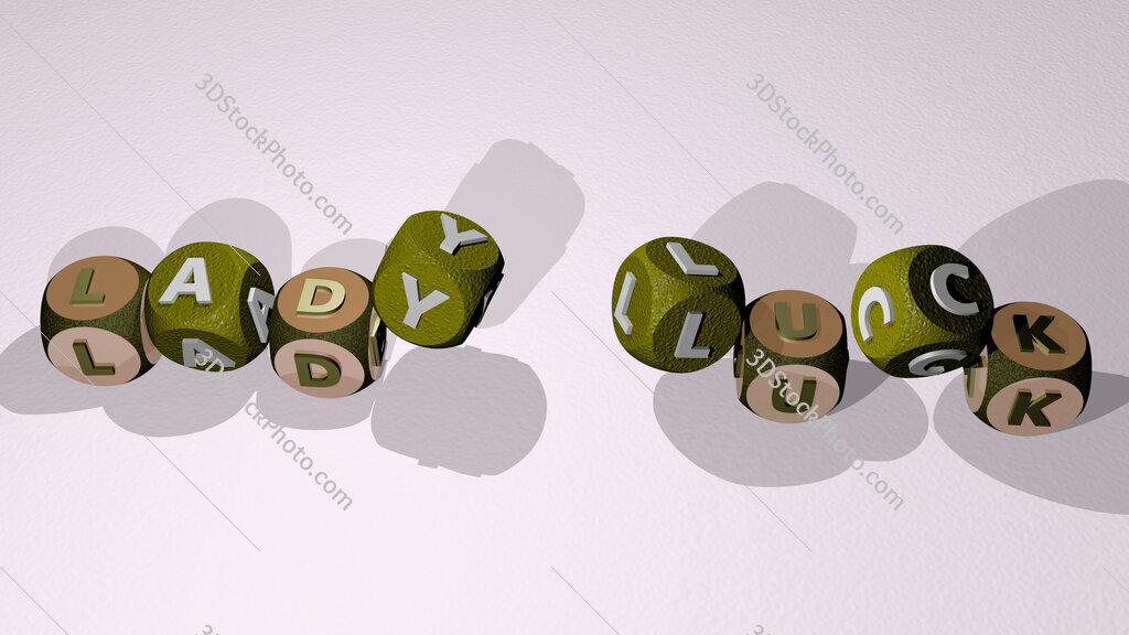 Lady Luck text by dancing dice letters